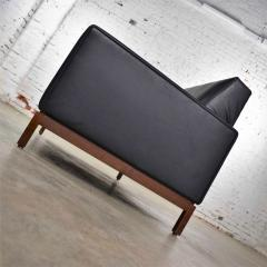 Taylor Chair Co Mid century modern black faux leather love seat sofa by taylor chair co  - 1609390