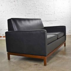 Taylor Chair Co Mid century modern black faux leather love seat sofa by taylor chair co  - 1609404