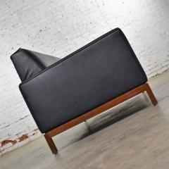 Taylor Chair Co Mid century modern black faux leather love seat sofa by taylor chair co  - 1609405