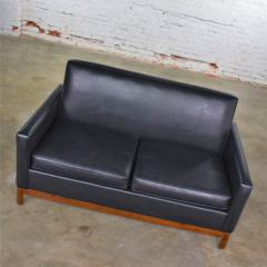 Taylor Chair Co Mid century modern black faux leather love seat sofa by taylor chair co  - 1609406
