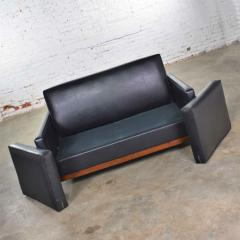 Taylor Chair Co Mid century modern black faux leather love seat sofa by taylor chair co  - 1609408