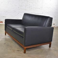 Taylor Chair Co Mid century modern black faux leather love seat sofa by taylor chair co  - 1609409