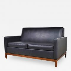 Taylor Chair Co Mid century modern black faux leather love seat sofa by taylor chair co  - 1610538
