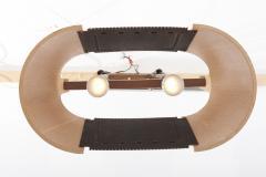 Temde Leuchten Rare Temde Pendant Lamp in plywood leather and metal Switzerland 1950s - 1833215