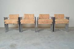 Thayer Coggin Exceptional Set of 4 Milo Baughman for Thayer Coggin Chrome Barrel Dining Chairs - 1826209