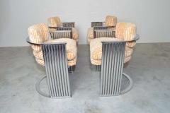 Thayer Coggin Exceptional Set of 4 Milo Baughman for Thayer Coggin Chrome Barrel Dining Chairs - 1826212