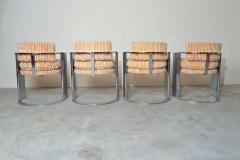 Thayer Coggin Exceptional Set of 4 Milo Baughman for Thayer Coggin Chrome Barrel Dining Chairs - 1826215