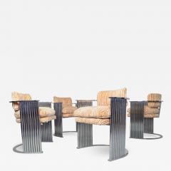 Thayer Coggin Exceptional Set of 4 Milo Baughman for Thayer Coggin Chrome Barrel Dining Chairs - 1827192