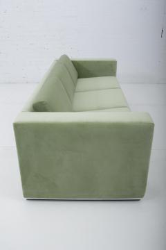 Thayer Coggin Milo Baughman Green Velvet Sofa on Chrome Base 1970 - 1563556