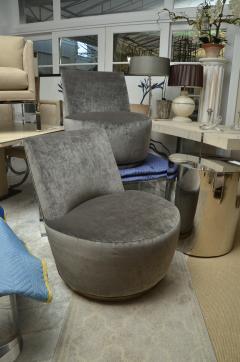Thayer Coggin Pair of Thayer Coggin Slipper Chairs on Swivel Bases - 1331524