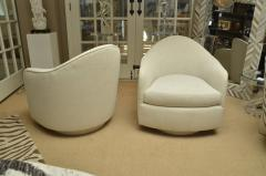 Thayer Coggin Pair of White Oval Back Chairs on Swivel Bases - 1329788