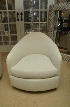 Thayer Coggin Pair of White Oval Back Chairs on Swivel Bases - 1329792