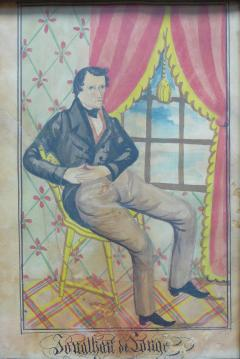 The Reading Artist Watercolor Portrait Pair of Jonathan Anna Maria DeLong - 1151471