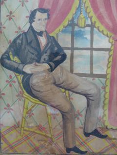 The Reading Artist Watercolor Portrait Pair of Jonathan Anna Maria DeLong - 1151473