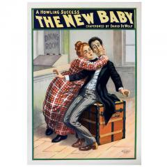 The US Lithograph Co Original 1902 American Playhouse Poster The New Baby  - 641399