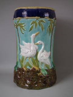 Thomas Forester Sons Forester Majolica Stork and Bamboo Garden Seat - 1745162