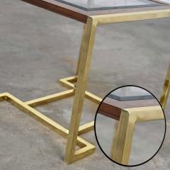 Thomasville Furniture Modern brass plated dark wood smoked glass rectangle end table - 2066094