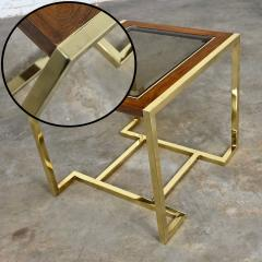 Thomasville Furniture Modern brass plated dark wood smoked glass rectangle end table - 2066097