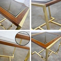 Thomasville Furniture Modern brass plated dark wood smoked glass rectangle end table - 2066101