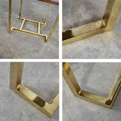 Thomasville Furniture Modern brass plated dark wood smoked glass rectangle end table - 2066103