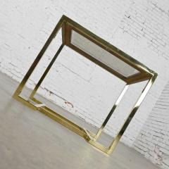 Thomasville Furniture Modern brass plated dark wood smoked glass rectangle end table - 2066104