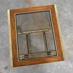 Thomasville Furniture Modern brass plated dark wood smoked glass rectangle end table - 2066110