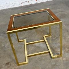 Thomasville Furniture Modern brass plated dark wood smoked glass rectangle end table - 2066112