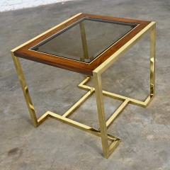 Thomasville Furniture Modern brass plated dark wood smoked glass rectangle end table - 2066113