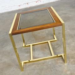 Thomasville Furniture Modern brass plated dark wood smoked glass rectangle end table - 2066116
