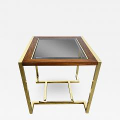 Thomasville Furniture Modern brass plated dark wood smoked glass rectangle end table - 2069001