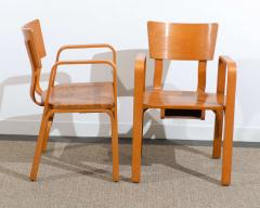 Thonet An Unusual Pair Of Bent Plywood Arm Chairs By Thonet   84682