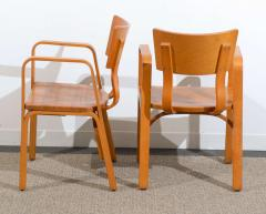 Thonet An Unusual Pair Of Bent Plywood Arm Chairs By Thonet   84684