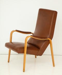 Thonet Mid 20th Century Walnut and Leather Open Armchair - 892810