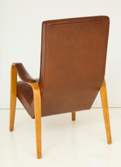 Thonet Mid 20th Century Walnut and Leather Open Armchair - 892811