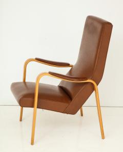 Thonet Mid 20th Century Walnut and Leather Open Armchair - 892812