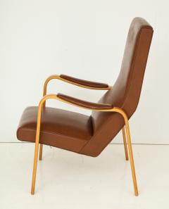Thonet Mid 20th Century Walnut and Leather Open Armchair - 892813