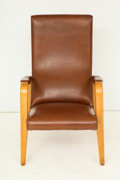 Thonet Mid 20th Century Walnut and Leather Open Armchair - 892814