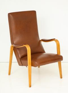 Thonet Mid 20th Century Walnut and Leather Open Armchair - 892816