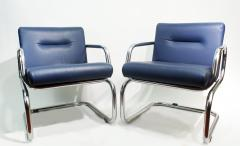 Thonet Pair of Cantilever leather Lounge Chairs Manufactured by Thonet in 1980 - 1933367