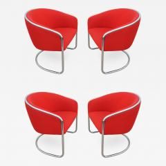 Thonet Set of Four Chrome Cantilevered Armchairs by Thonet - 245197