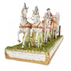 Tiche Italian Tiche porcelain horse and carriage group - 2003872