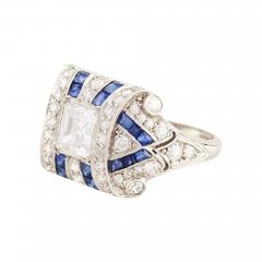 Tiffany Co Art Deco Tiffany Co Sapphire and Asher Cut Diamond Ring - 193805