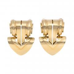 Tiffany Co Pair of Retro Tiffany Co Gold Clip Brooches of Geometric Design - 1791228