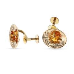 Tiffany Co RETRO TIFFANY CO 6MM CITRINE EARRINGS 14K YELLOW GOLD - 1954923