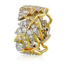 Tiffany Co SCHLUMBERGER PLATINUM 18K YELLOW GOLD FLORAL DIAMOND WEDDING BAND - 1797268