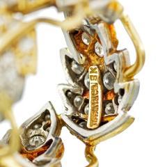 Tiffany Co SCHLUMBERGER PLATINUM 18K YELLOW GOLD FLORAL DIAMOND WEDDING BAND - 1797269