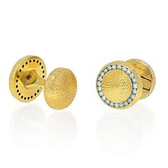 Tiffany Co TIFFANY CO 14K YELLOW GOLD DIAMOND CIRCLE CUFF LINKS - 2029573