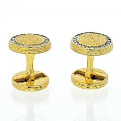 Tiffany Co TIFFANY CO 14K YELLOW GOLD DIAMOND CIRCLE CUFF LINKS - 2029574