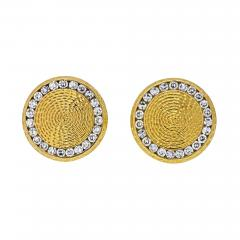 Tiffany Co TIFFANY CO 14K YELLOW GOLD DIAMOND CIRCLE CUFF LINKS - 2030194