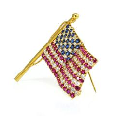 Tiffany Co TIFFANY CO 18K GOLD AMERICAN FLAG WITH DIAMONDS RUBIES SAPPHIRES BROOCH - 1721117